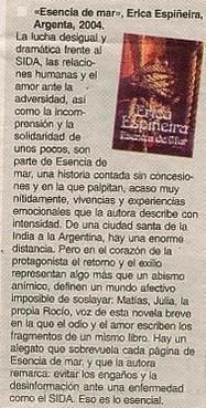 Esencia de Mar. Comentario en el Diario El Día de La Plata.